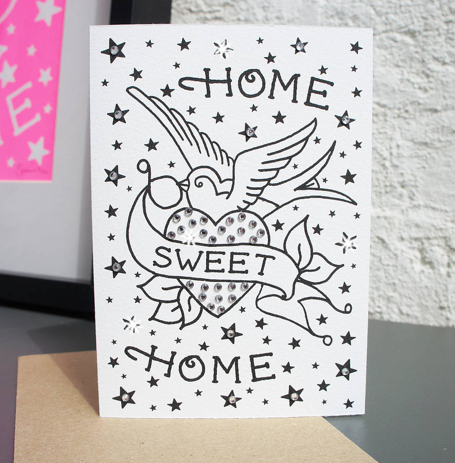 home sweet home39; tattoo diamante card by spdesign