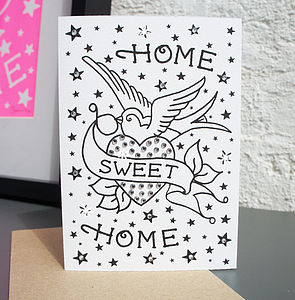 'Home Sweet Home' Tattoo Diamante Card - new home cards