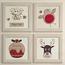 Personalised Christmas Embroidered Framed Artwork