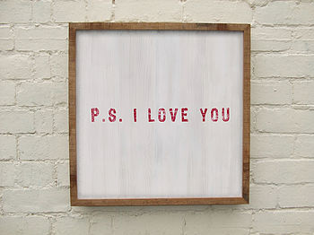 Handmade Limited Edition 'P.S.' Wooden Print
