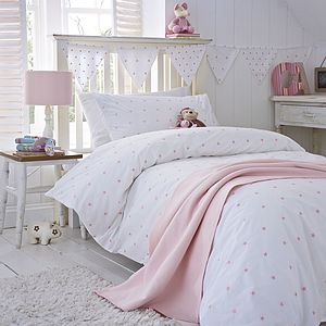 Pink Stars Organic Cotton Bedding - cot bedding