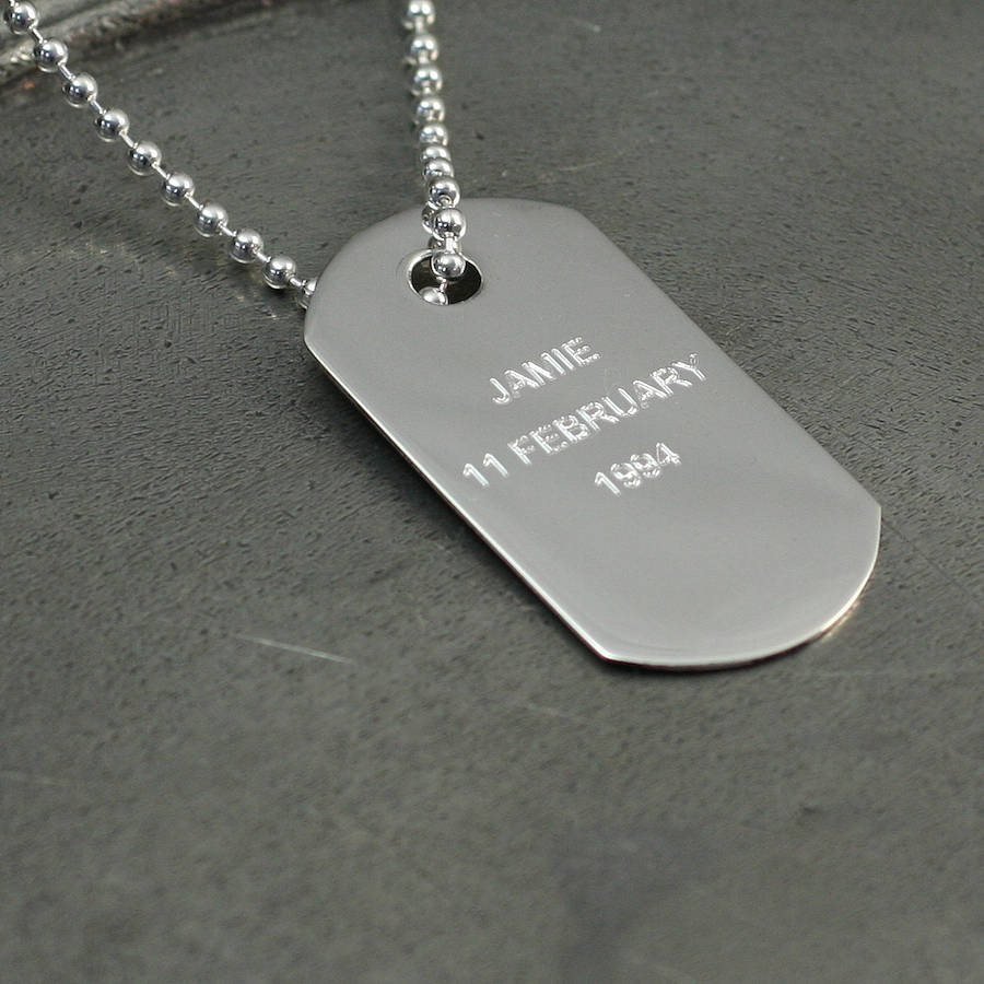 Personalised silver dog tag pendant by hersey silversmiths personalised silver dog tag pendant aloadofball