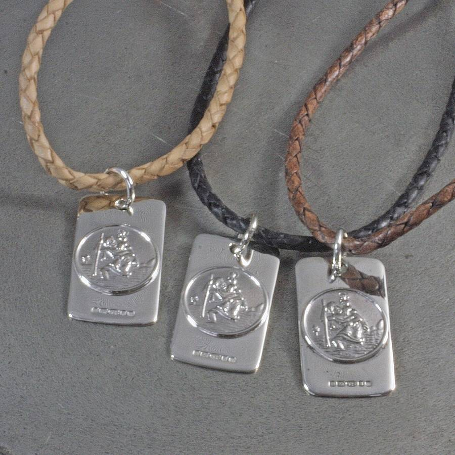 Mens st christopher necklace by hersey silversmiths silver st christopher on leather necklace aloadofball Choice Image