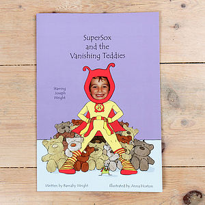 Super Sox And The Vanishing Teddies Hardback - page boy gifts