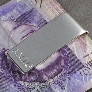 Personalised Silver Money Clip - men's sale