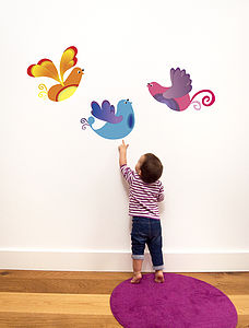 Trio Of Tropical Bird Wall Stickers - wall stickers