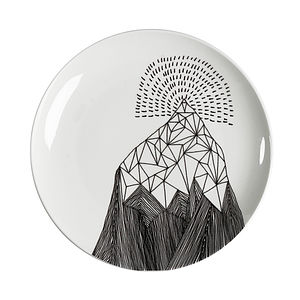 Charcoal Mountain Design Plate