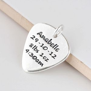 Personalised Silver Plectrum Charm - gifts for godparents
