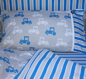 Printed Tractor Cotbed Duvet Set