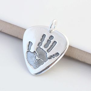Personalised Hand Or Footprint Plectrum Charm - keyrings