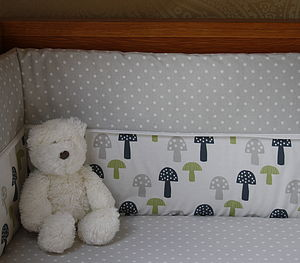 Printed Toadstool Cotbed Bumper - bed linen & cot bedding