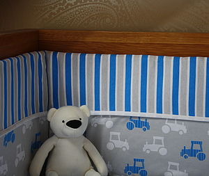 Printed Tractor Cotbed Bumper - bed linen & cot bedding