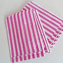 100 Pink Striped Paper Candy Sweet Bags