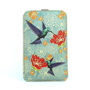 Hummingbird Leather Phone Case - tech accessories for her