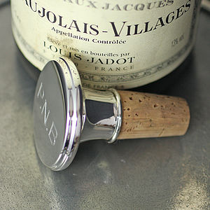 Personalised Silver Bottle Stopper - drink & barware