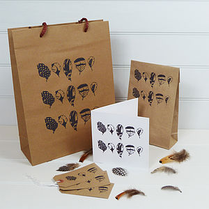 Feather Hand Printed Gift Bag - cards & wrap