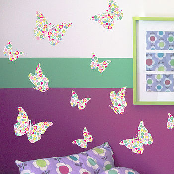 Pastel Patterned Butterflies Wall Stickers