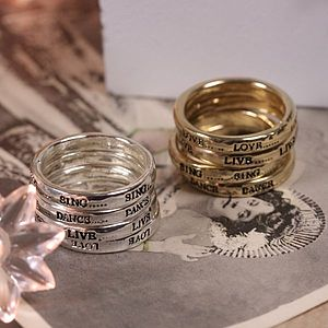 Set Of Four Meaningful Word Rings - rings