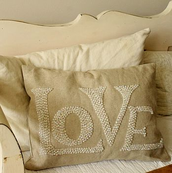 Beaded 'Love' Cushion