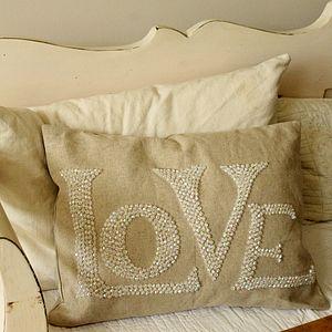 Beaded 'Love' Cushion - cushions