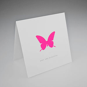 Neon Butterfly Card - all purpose cards, postcards & notelets