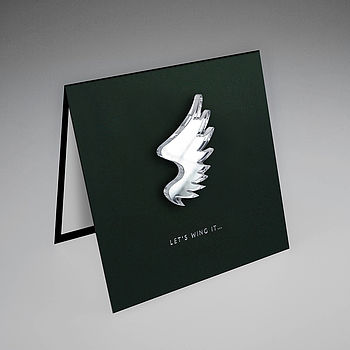 Mirror Acrylic Wing Magnetic Icon Gift Card on Black