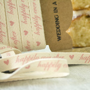 'Happily Ever After' Cotton Ribbon - wedding favours