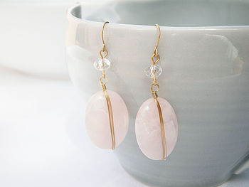 Rose Quartz Wrap Earrings