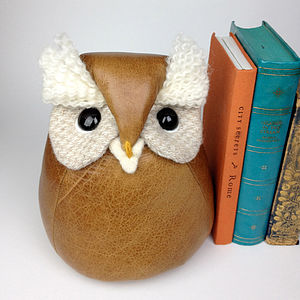 Handmade Ozzy The Leather Owl - bookends