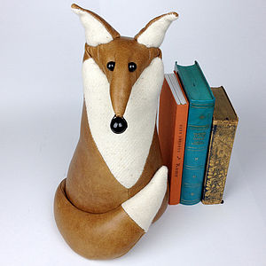 Handmade Fergal The Leather Fox - bookends