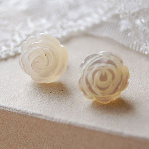 Carved Mother Of Pearl Stud Earrings - earrings