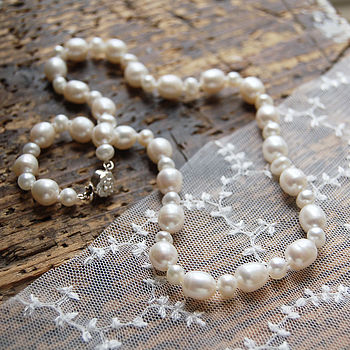 Pearl Necklace With Silver Rose Clasp