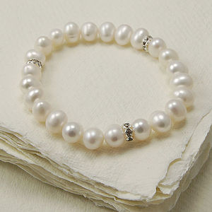 Stretch Pearl Bracelet With Diamante Detail - bracelets & bangles
