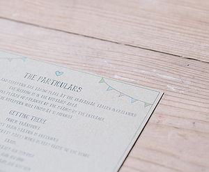 Personalised Particulars Card - invitations