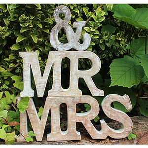 'Mr & Mrs' Freestanding Wooden Letters - outdoor decorations