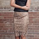 Nude Lace Pencil Skirt