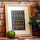 Personalised Foodie Print Neutrals with Dark Background