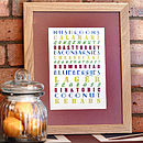 Personalised Foodie Print Retro Colours