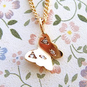 Rose Gold And Diamond Butterfly Necklace - necklaces & pendants