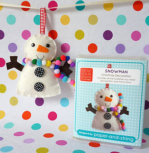 Snowman Decoration Mini Kit - sewing & knitting