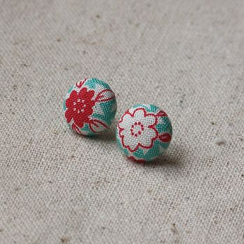 Floral Fabric Covered Earrings Aqua and Red