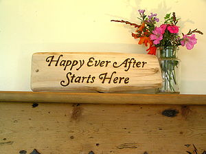 Happy Ever After Starts Here Natural Wooden Sign
