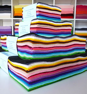 Multicoloured Pack Of Premium Craft Felt - rainbows