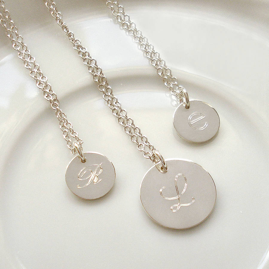 Sterling silver engraved initial necklace by mia belle sterling silver engraved initial necklace aloadofball Choice Image