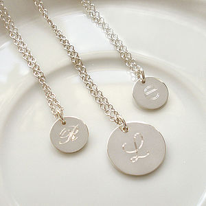 Sterling Silver Engraved Initial Necklace - necklaces & pendants