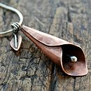 Calla lily copper and silver pendant on snake chain