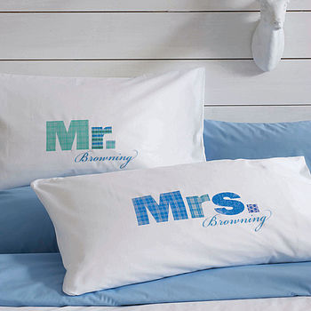 Set Of Two 'Mr' And 'Mrs' Pillowcases: aqua and blue