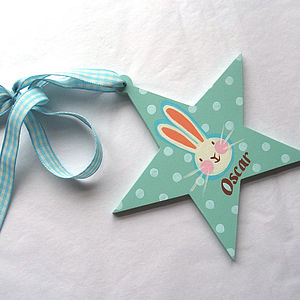 Personalised Boy's Wooden Bunny Star