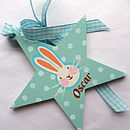 Personalised Christening Star showing turquoise ribbon