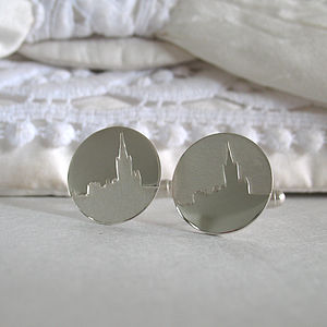 Personalised Wedding Venue Skyline Cufflinks